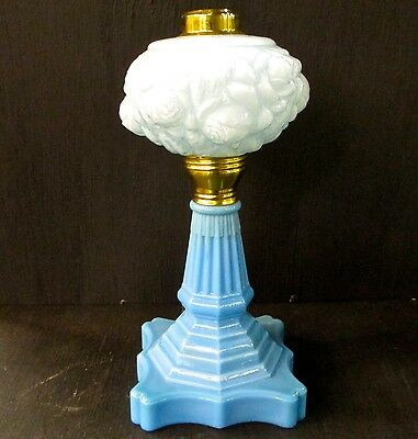 FOR ALADDIN BY FENTON L. G. WRIGHT LAMP BASE WITH FONT POWDER BLUE FLORAL LG1