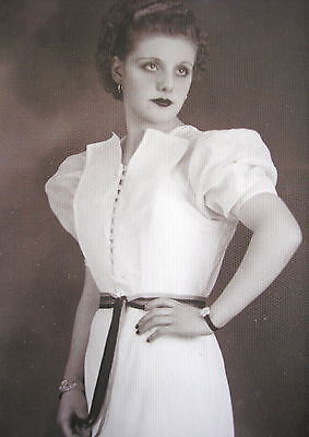 YOUNG LADY w/PRETTY GLAMOUR EVENING DRESS & FINGER WAVE HAIRSTYLE NICE PHOTO