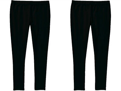 2 Pairs Faded Glory Girls Leggings Solid Black Stretch 95% Cotton 5% Spandex 4-5