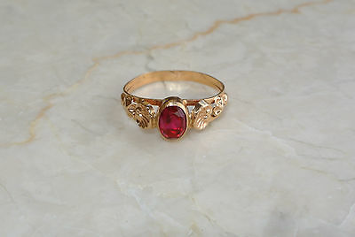 Gorgeous Russian Estate Soviet Vintage 18K Yellow Gold Ruby Ring - Size 8.5