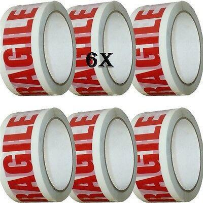 6 XTAPE Rolls Of FRAGILE STRONG Parcel Tape Packing FRAGILE Packaging 48mm x 66m