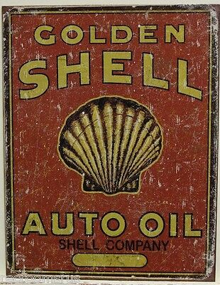 SHELL golden shell auto oil metal sign vintage style ad weathered look gas