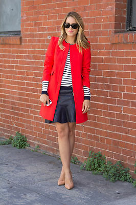 ZARA Bright Red Coat Jacket w/ Gathering On The Shoulder SIZE SMALL S Blogger