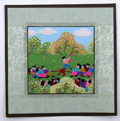 """Chinese Suzhou small embroidery peasant painting A tug of war children 8x8"""" art"""