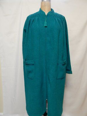 e97046ecd0 Miss Elaine Zip Front Brushed Back Satin Robe S Jade New with Tags