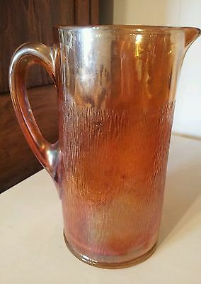 Vintage Imperial Glass ~ Marigold Carnival ~ peach color -Tree Bark ~ Pitcher