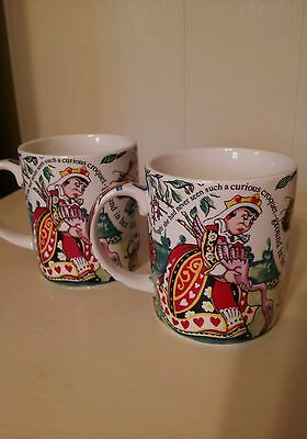 2 CARDEW Design ALICE IN WONDERLAND Mad Hatters Teaparty Cheshire Cat MUGS 2004