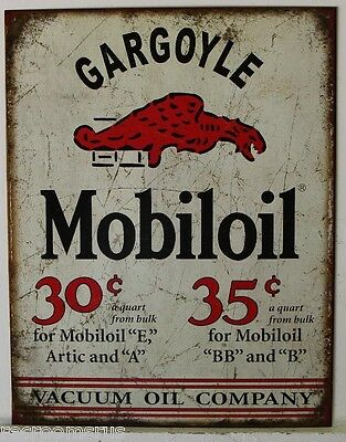 MOBIL OIL metal sign Gargoyle mobiloil mobilegas gas gasoline weathered look1897