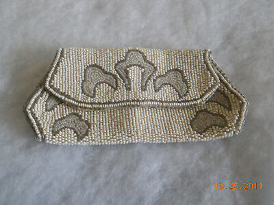 Antique White Beaded Purse Clutch