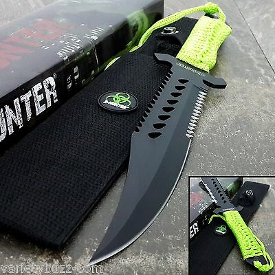 """12"""" FIXED BLADE Tactical Survival HUNTING Knife Bowie w/ Z Sheath ZOMBIE HUNTER"""