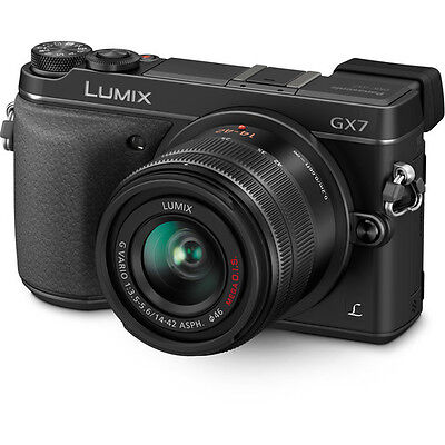 Panasonic LUMIX DMC-GX7 w/ 14-42mm Lens - Black Mirrorless Digital Camera