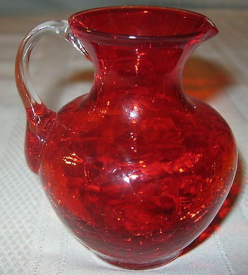 Vintage Small Art Glass Ruby Red Pitcher Applied Handle Crackled Design
