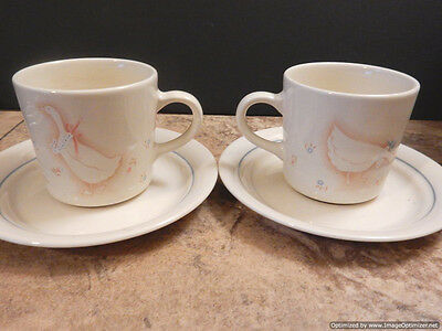 """Corelle Corning Country Promenade Geese Set of 2 Mugs Cups & Saucers 3"""" Tall USA"""