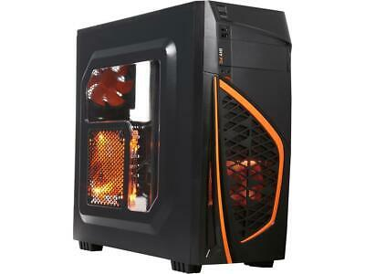 DIYPC Zondda-O Black USB 3.0 ATX Mid Tower Gaming Computer Case with 3 x Orange
