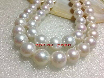 """rare round long AAAAA LUSTER 35""""13-15mm REAL  south sea white pearl necklace 14K"""