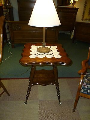 antique oak table parlor  Quartersawn, ball claw feet, shaped top, refinished