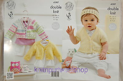 KINGCOLE 4197 BABY DK KNITTING PATTERN  16-26 IN -not the finished garments