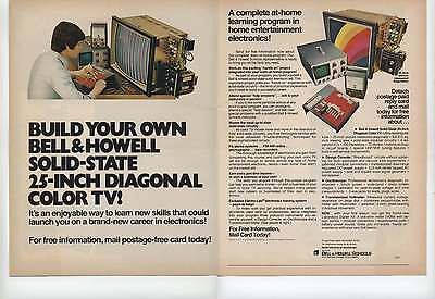 1973 Bell & Howell Schools Build Your Own 25 Inch Solid State Color TV 2 Page Ad