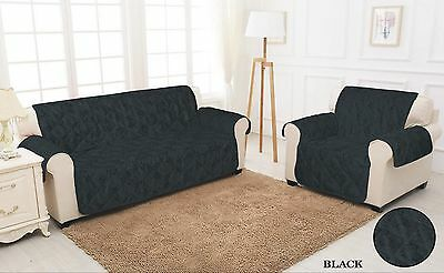 BLACK QUILTED Damask Jacquard Slip Sofa Cover Throw Pet Protector 1,2,3 Seater