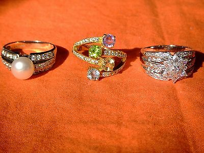3 Vintage Sterling Silver Big Bling Rings & Colored CZs 16.3g Bargain Low Price