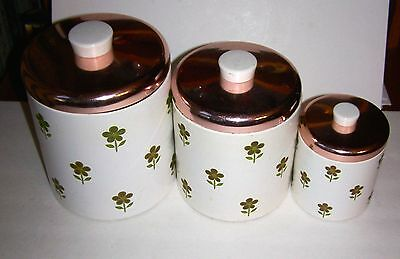 Ransburg VTG 3 Piece Nesting Green Daisy Floral Canister Set with Copper Tops
