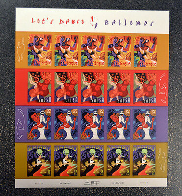 2005USA #3939-3942 37c Let's Dance - Bailemos - Sheet of 20 -  Mint NH  **crisp*