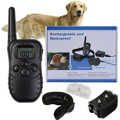 Pet Dog Training Collar 328Yd Waterproof Rechargeable 100 Level Shock Remote LCD