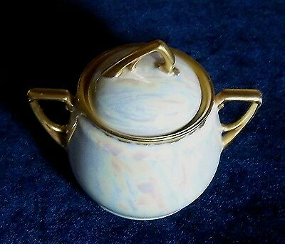 Antique KPM Germany Iridescent Sugar Bowl With Lid Gold Accents L@@K!!!!!