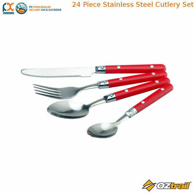 NLA Oztrail 24 Piece Stainless Steel Cutlery Set Picnic Camping Kicthen