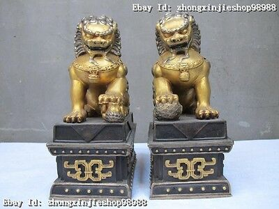 China 100% pure Bronze 24K Gold Silver Invincible palace Door Foo Dog Lion Pair