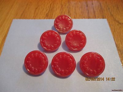 "6-Czech Glass Circle of Plain Hearts on Reddish Orange Buttons-.660""=16.75mm"