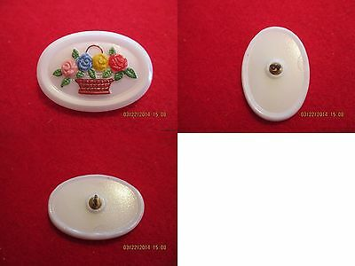 "Czech Glass Basket of 4 Different Color Flowers on a White Button-1.496""x1.044"""