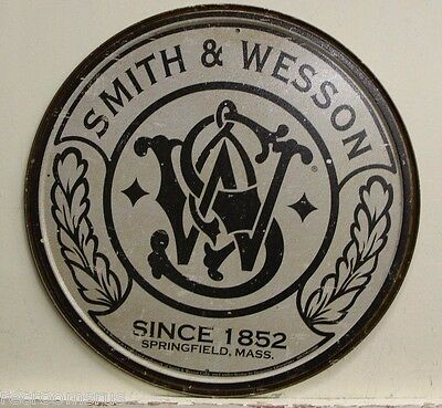 """SMITH & WESSON 12"""" metal sign since 1852 Springfield Mass. gun revolver rifle"""