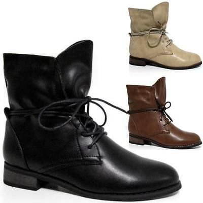Ladies Womens Mid Low Flat Heel Biker Riding Chelsea Lace Ankle Boots Shoes Size