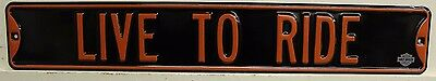 LIVE TO RIDE heavy embossed metal street style sign motorcycle Harley Davidson