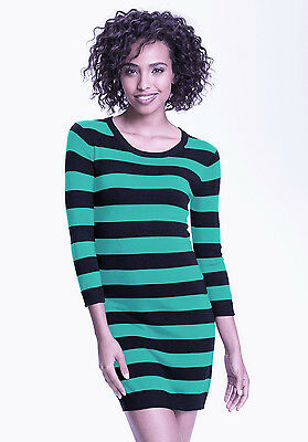 NWT French Connection Bambi Knit Striped Sweater Dress Aqua Black 8
