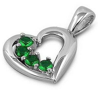 925 Sterling Silver Curved 4 Stone Heart Emerald CZ Love Valentine's Day Pendant