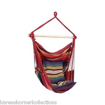 Hanging Rope Chair Seat Cotton Multi-Color Porch Patio Tree Cushion Comfort