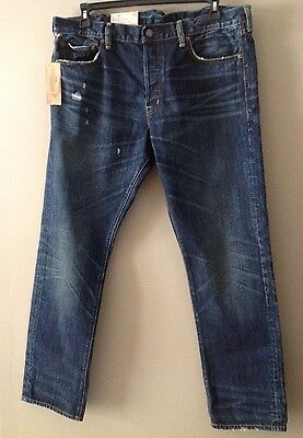 Denim & Supply Ralph Lauren Indigo-Dyed Slim-fit Rigid Selvedge Jeans 38 x 30