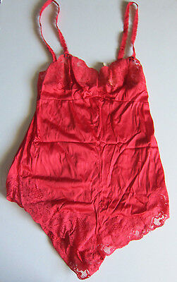 "NEW VINTAGE 80s ""Jezebel"" Red Silky Nylon Lace Teddie Lingerie  - SZ S Small"