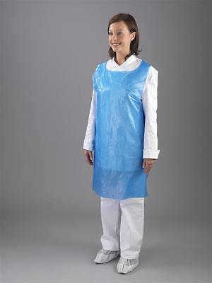 Disposable Plastic Aprons Blue Polythene Aprons Eco Flat Pack of 100