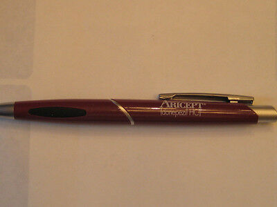 NEW LOT (2) ARICEPT BURGUNDY SILVER PFIZER DRUG REP BLACK PENS RARE DISCONTINUED