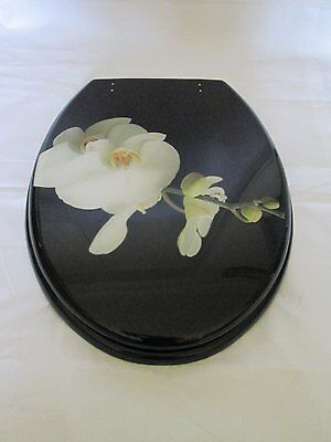 Black Resin toilet seat with white flower finish and Chrome finish Hinges