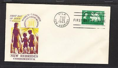 New Hebrides Scott 93 FDC - 1963 Freedom From Hunger