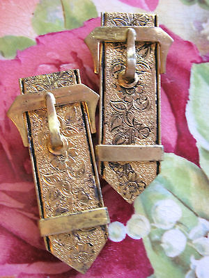 PAIR OR SET OF ANTIQUE VICTORIAN DRESS CLIPS FANCY BELT BUCKLE DESIGN D'EPARGNE