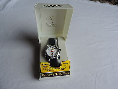NOS VINTAGE LORUS MICKEY MOUSE MARCH ALARM MELODY WATCH NIB Never Worn