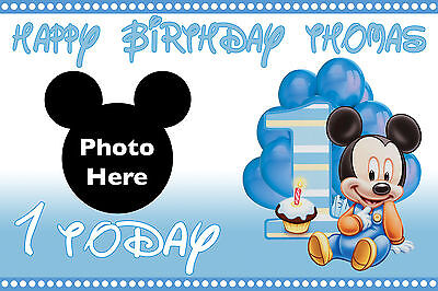 LARGE BOYS 1ST BIRTHDAY BABY MICKEY MOUSE BANNER POSTER PERSONALISED NAME ETC