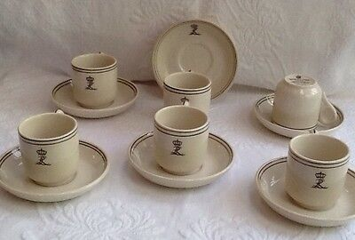 Grindley Hotelware Co. demitasse cups & saucers, set of 6, England