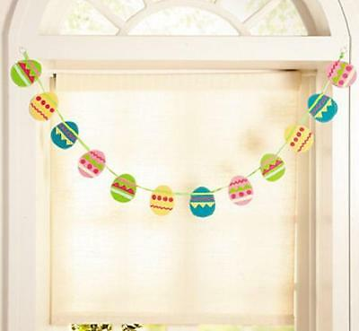 Embroidered Easter Eggs Colorful Garland w/ 6-Ft Long Ribbon Spring Decoration