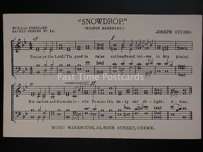 Musical Postcard SNOWDROP by Joseph Stubbs MUSIC WAREHOUSE Crewe